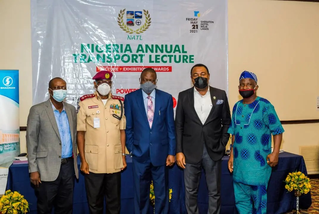 L-R: Managing Editor of Transport Day newspaper, Mr. Frank Kintum; Corps Marshal of Federal Road Safety Corps, Dr. Boboye Oyeyemi; Chairman of Governing Council, Nigerian Institute of Transport Technology, Olorogun John Onojeharho; National President of Association of Nigeria Licenced Customs Agents, Hon Tony Nwabunike; and the Lagos State Coordinator of SMEDAN, Mr. Adeyinka Fisher at the 8th Nigeria Annual Transport Lecture held at Sheraton Hotel, Ikeja, Lagos- Friday, May 21, 2021